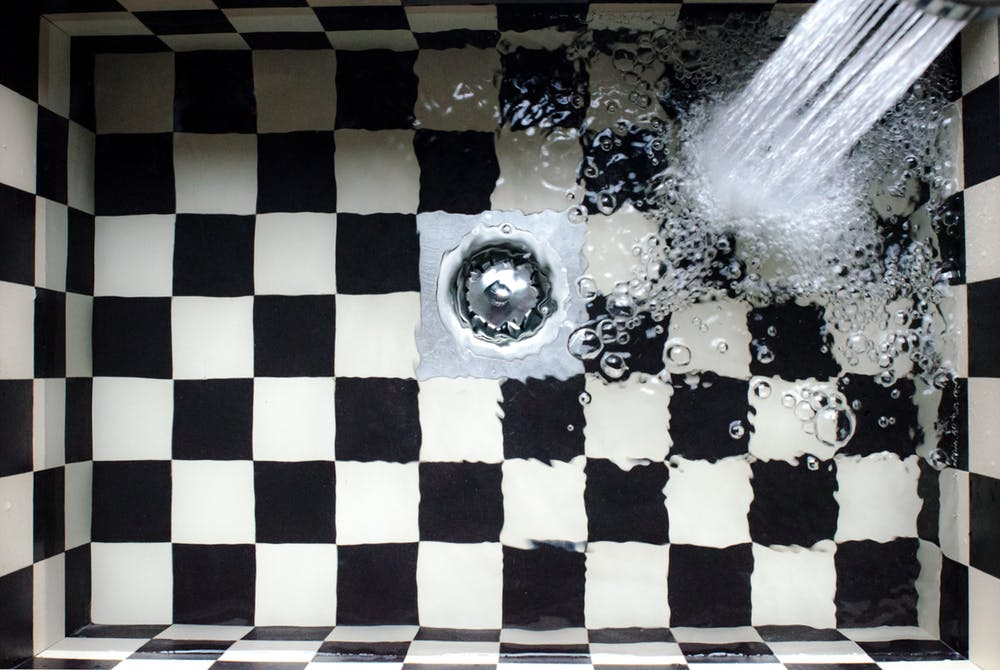 drain with water